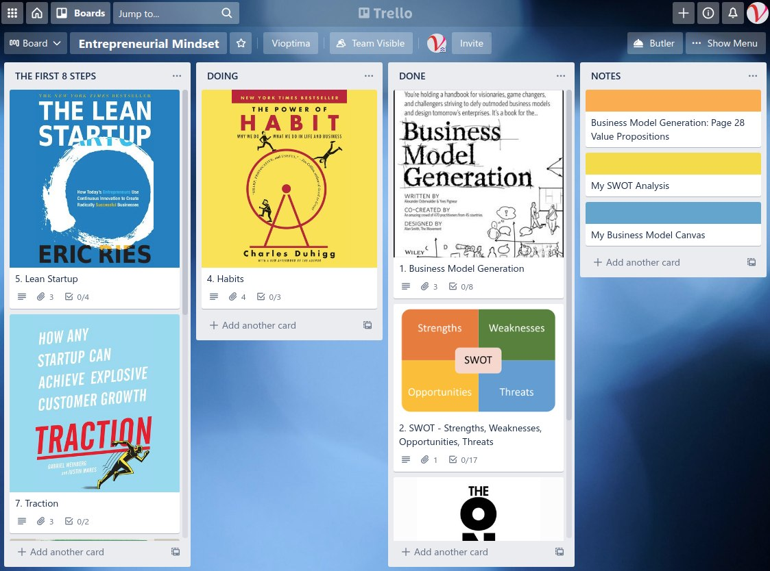 This is a Trello Board that defines the first steps in building an entrepreneurial mindset.